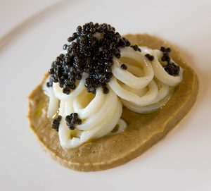 Lentil cream, soft calamari and Caviar