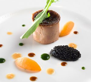 Terrine of foie-gras loquats, dandelion and caviar